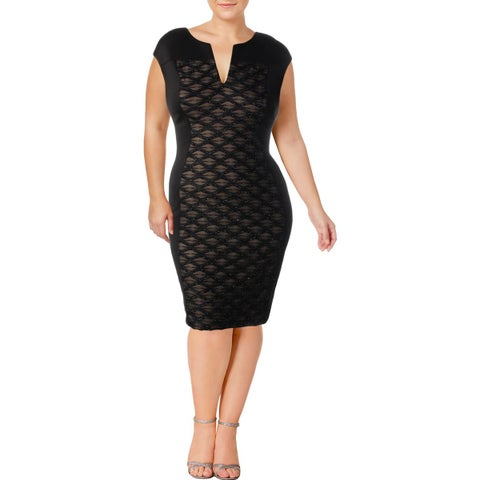 Connected Apparel Womens Scuba Dress Glitter Illusion