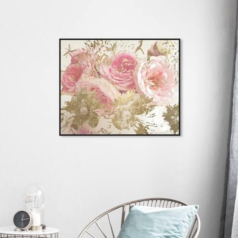 Oliver Gal 'Serving Flowers' Floral and Botanical Wall Art Framed Canvas Print Florals - Pink, Gold