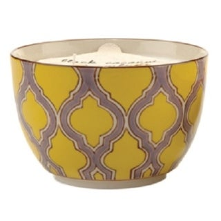 Paddywax Green Fig and Violet Soy Wax Scented Candle in Hand Painted Bowl 12.5 oz