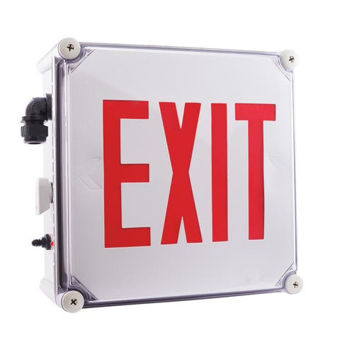 "Elco EE21 11"" Wide Weatherproof LED Exit Sign - - White / Red"