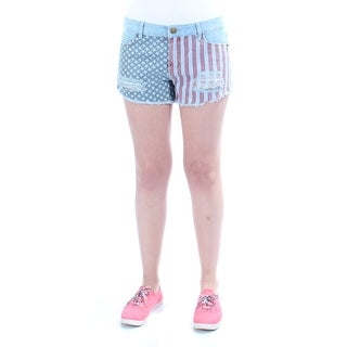 Womens Light Blue American Flag Casual Cropped Short Size 7