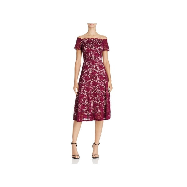 Adrianna Papell Womens Cocktail Dress Lace Off-The-Shoulder