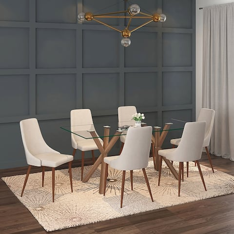 Contemporary 7pc Dining Set with Walnut Table & Beige Chair
