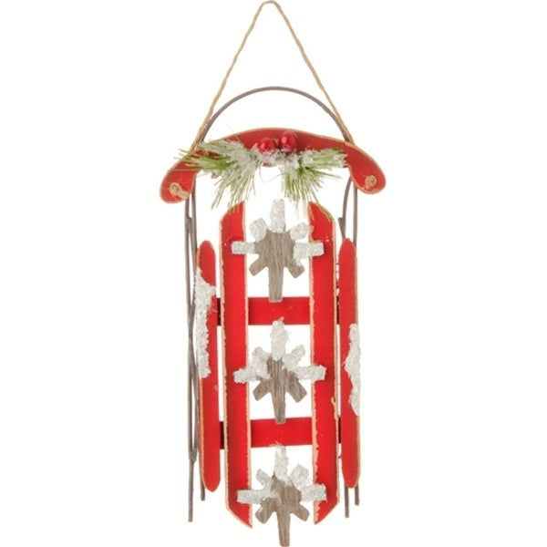 "7.25"" Country Cabin Rustic Red Sled with Snowflakes and Flocked Holly Christmas Ornament"