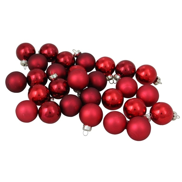 """28-Piece Red Collection Glass Ball Christmas Ornament Set 1"""" (30 mm)"""