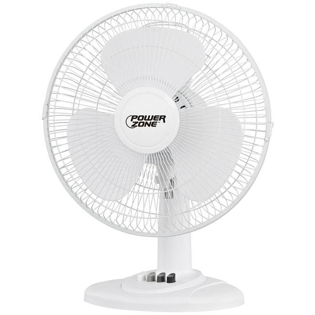 "Power Zone FT-40 3-Speed Desk Fan, White, 16"" - Thumbnail 0"