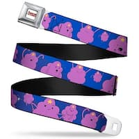 Adventure Time Logo White Full Color Lumpy Space Princess Expressions Blue Seatbelt Belt
