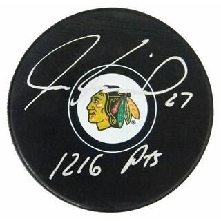 Jeremy Roenick Signed Chicago Blackhawks Logo Hockey Puck with 121