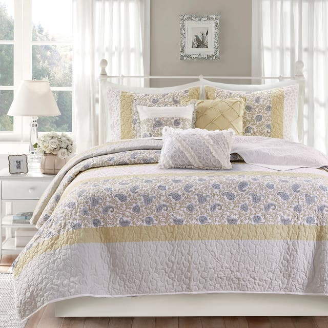 Madison Park Vanessa Cotton Percale 6-piece Reversible Coverlet Set - Yellow - King - Cal King