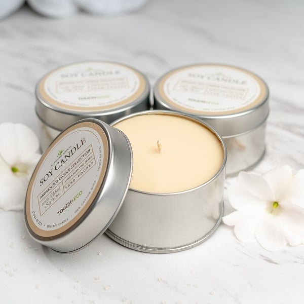 Artisan All Natural Soy Candles in Silver Tin - 3 or 6 Pack. Opens flyout.
