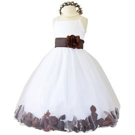 Flower Girl Dresses Rose Petal Wallao White (Baby - 14) Brown