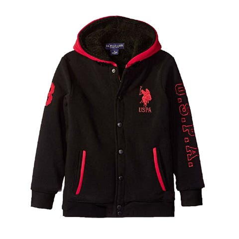 US Polo Assn Little Boys Red Black Logo Detail Sherpa Lined Hooded Jacket