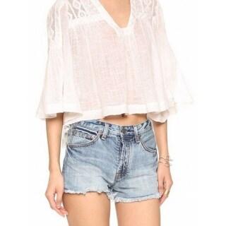 Free People NEW White Women's Size Medium M V-Neck Lace Sheer Blouse