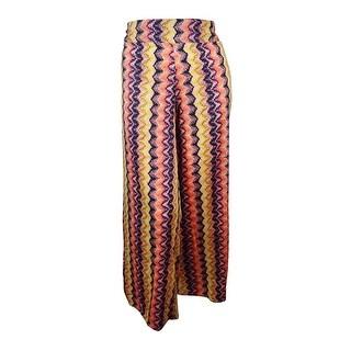 Bar III Women's Abstract Printed Wide-leg Pants - apricot ice combo - XxL