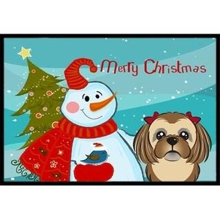 Carolines Treasures BB1869JMAT Snowman With Chocolate Brown Shih Tzu Indoor & Outdoor Mat 24 x 36 in.