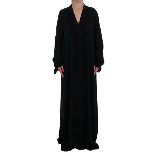 6ce1a20bdf Shop Dolce   Gabbana Blue Floral Applique Lace Kaftan Dress - Free ...