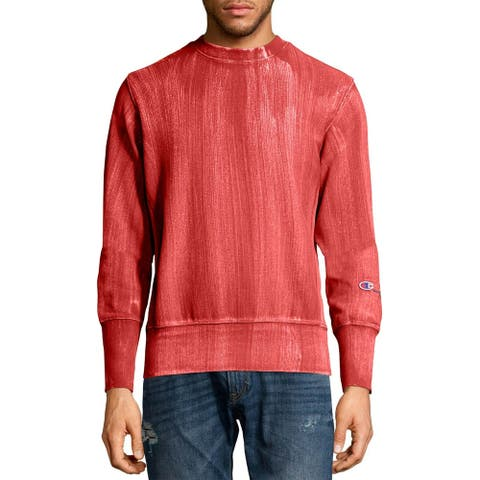 Champion Mens Europe Premium Bleached Wash Reverse Weave Terry Sweatshirt S Red