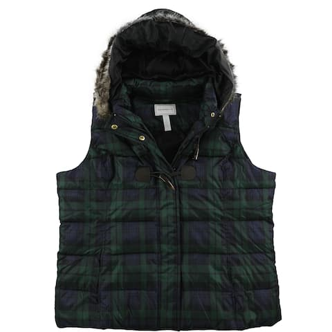 Charter Club Womens Faux-Fur Hooded Puffer Vest