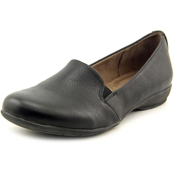 NaturalSoul by Naturalizer Gabber Women W Round Toe Synthetic Black Loafer