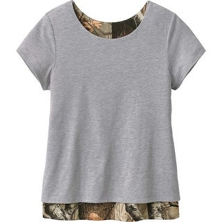 Legendary Whitetails Ladies Melody Petal Back Big Game Camo Top - Heather Grey