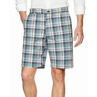 Dockers Green Blue Mens Size 42 Classic Fit Stretch Plaid Short