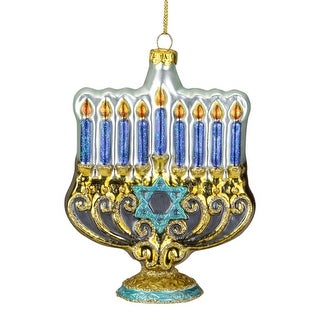 """Link to 5"""" Gold and Blue Menorah Glass Hanukkah Ornament Similar Items in Christmas Decorations"""