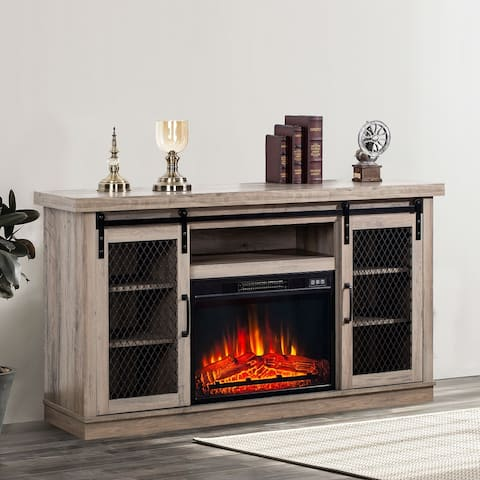 58-inch Fireplace TV Stands Barn Door Console Table with 7-shelves