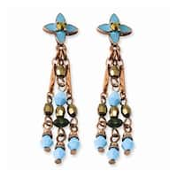 Copper Green, Teal & Brown Acrylic Beads Post Earrings
