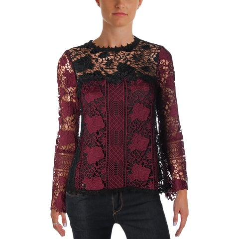 Nanette Lepore Womens Intoxicating Blouse Lace Layered