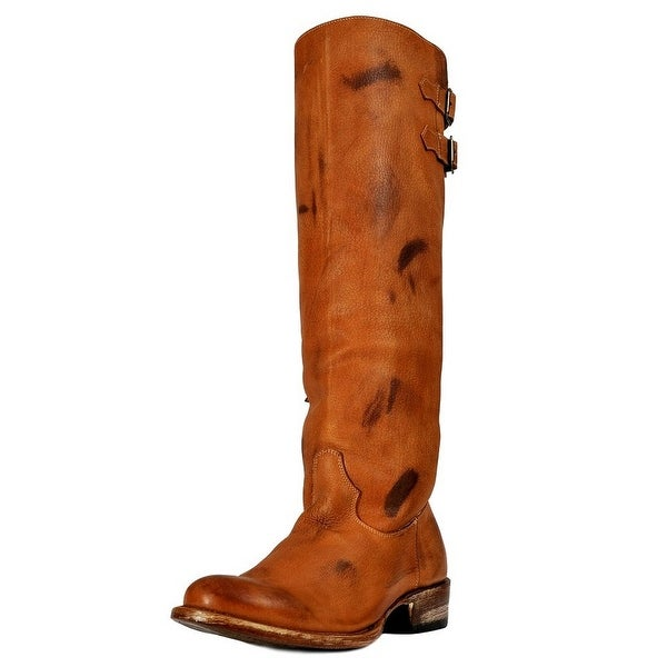 Johnny Ringo Western Boots Women Fashion Knee Buckles Zip Tan
