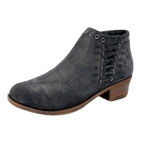 Minnetonka Boots Womens Brenna Ankle Zip Suede Vintage Charcoal