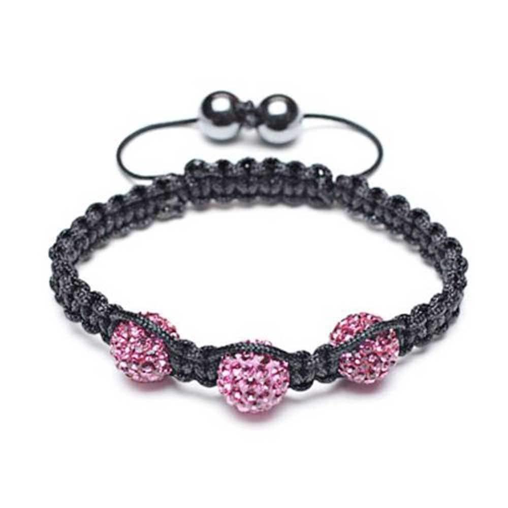 Fuchsia Pink Pave Crystal Ball Shamballa Inspired Bracelet For Women Black Cord String Adjustable