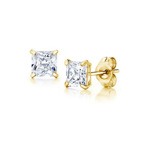 Pori Jewelers 14K Gold 3MM Princess-Cut Stud Earrings wCrystal by Swarovski