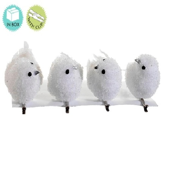 Set of 4 Snow Drift White Bird Clip On Christmas Ornaments 5""