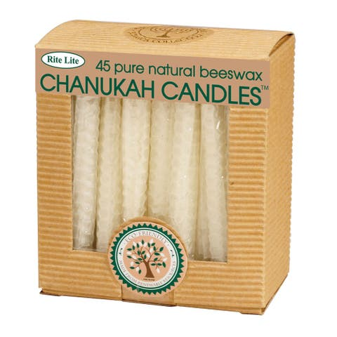 """Club Pack of 45 White Eco-Friendly Natural Beeswax Chanukah Menorah Candles 4"""""""