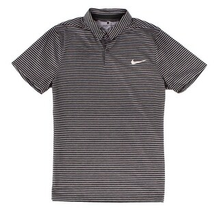 Nike NEW Black Mens Size Medium M Striped Modern Fit Polo Rugby Shirt