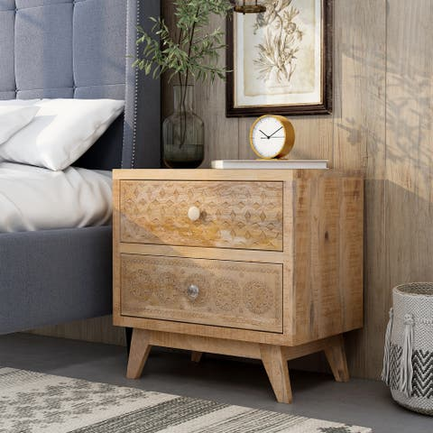 Furniture of America Carina Solid Wood Bohemian Nightstand