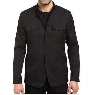 Kenneth Cole NEW Black Mens Size Medium M Three Button Military Blazer