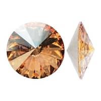 Swarovski Elements Crystal, 1122 Rivoli Fancy Stones 18mm, 2 Pieces, Crystal Golden Shadow