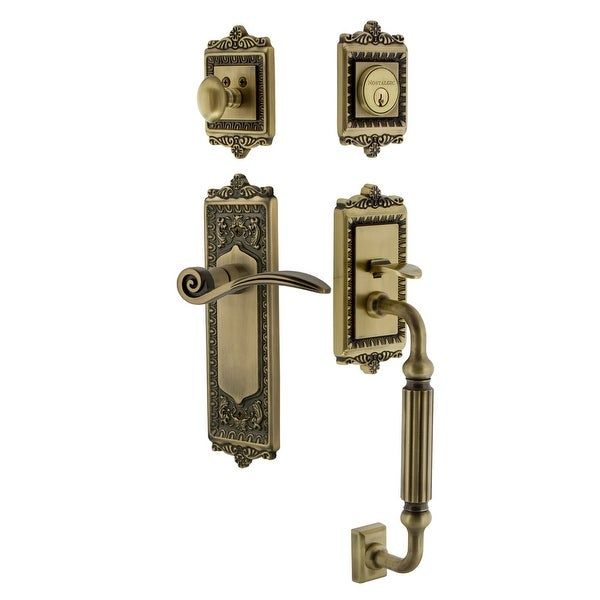 Nostalgic Warehouse EADSWN_ESET_238_FG_RH Egg & Dart Right Handed Sectional Single Cylinder Keyed Entry Handleset with F Grip