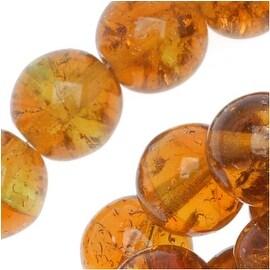 Czech Glass Druk Round Beads 8mm Crackle Topaz/Green (25)