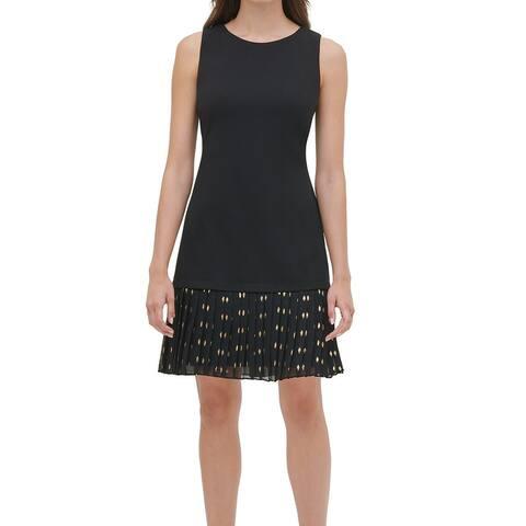 Tommy Hilfiger Womens Sheath dress Black Size 12 Chiffon-Pleated Hem