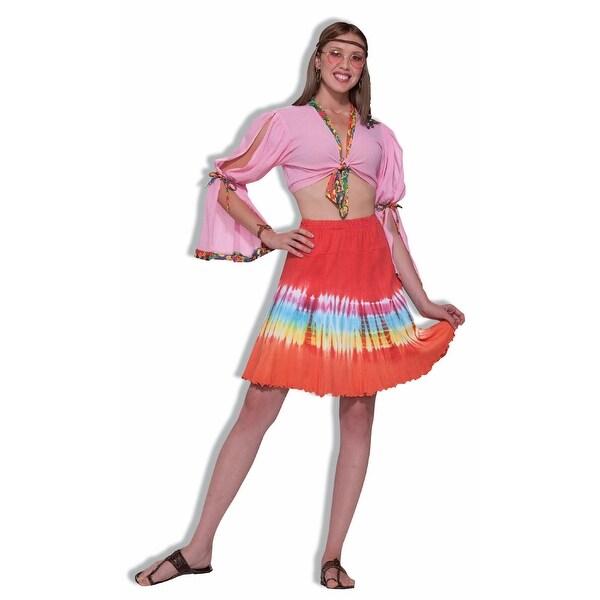 60u0026#x27;s 70u0026#x27;s Hippie Woodstock Tye Dye Mini Skirt  sc 1 st  Overstock.com & Shop 60u0027s 70u0027s Hippie Woodstock Tye Dye Mini Skirt Costume Adult ...