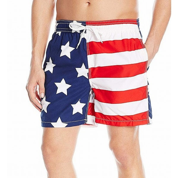 dd7d689b94d Shop Kanu Blue US Flag Printed Mens Size Large L Monaco Swim Trunks - Free  Shipping On Orders Over $45 - Overstock - 27288394