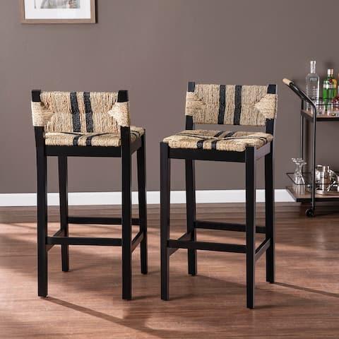Carbon Loft Ghiberti Transitional Black Wood Barstools (Set of 2)