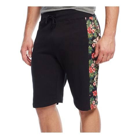 Univibe Mens Floral Mesh panel Athletic Sweat Shorts, black, Small
