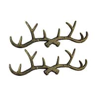 Set of 2 Rustic Distressed Gold Finish Cast Iron Deer Antler Wall Hook Hangings