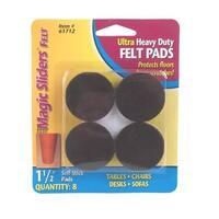 "Magic Sliders 61712 Ultra Heavy-Duty Self-Stick Felt Pads, Brown, 1-1/2"""