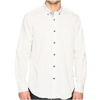 Nautica NEW White Ivory Mens Size Large L Printed Button Down Shirt