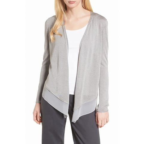Nic + Zoe Gray Womens Size Large L Open Front Cardigan Silk Sweater